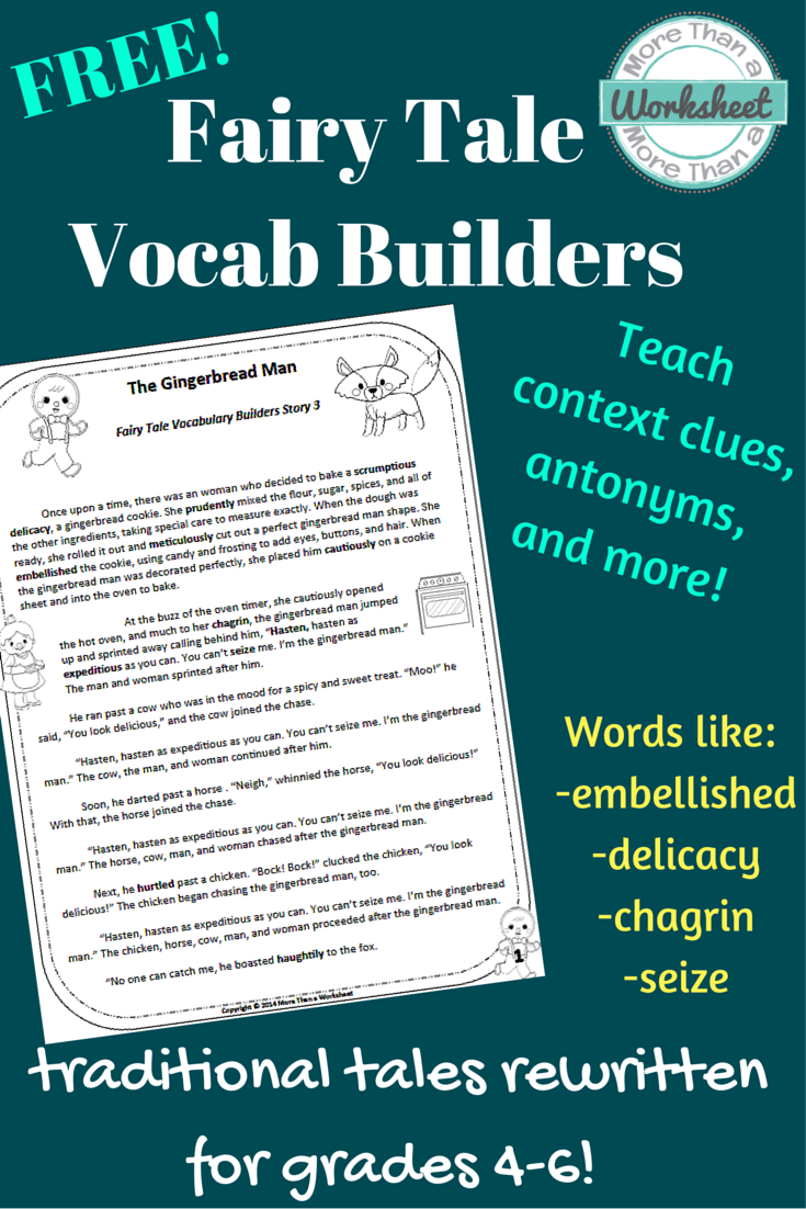 FREE! Gingerbread Man Vocabulary Builders Grades 4-6 | Teach. READ ...
