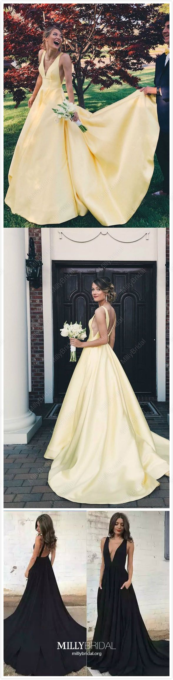 8bbef3408a77 Long Prom Dresses Yellow 2019, Princess Prom Dresses With Pockets, Cheap Prom  Dresses Satin, Beautiful Prom Dresses V Neck