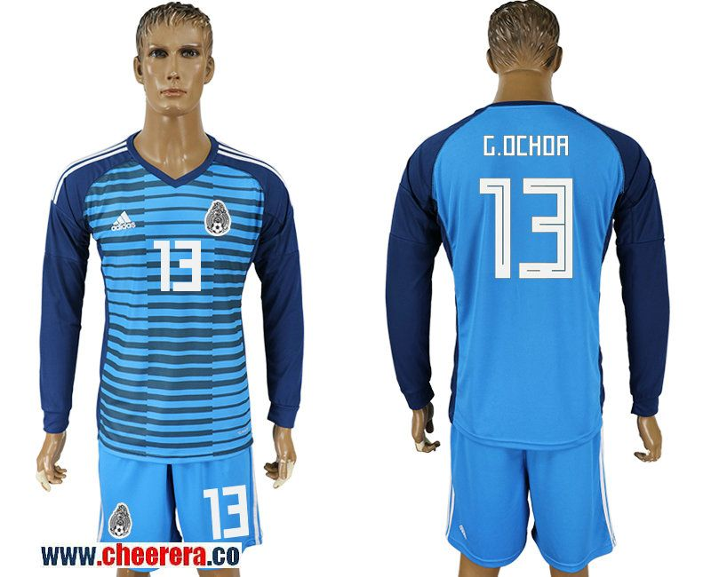 9a2e2d6cb Mexico 13 G. OCHOA Lake Blue Long Sleeve Goalkeeper 2018 FIFA World Cup  Soccer Jersey