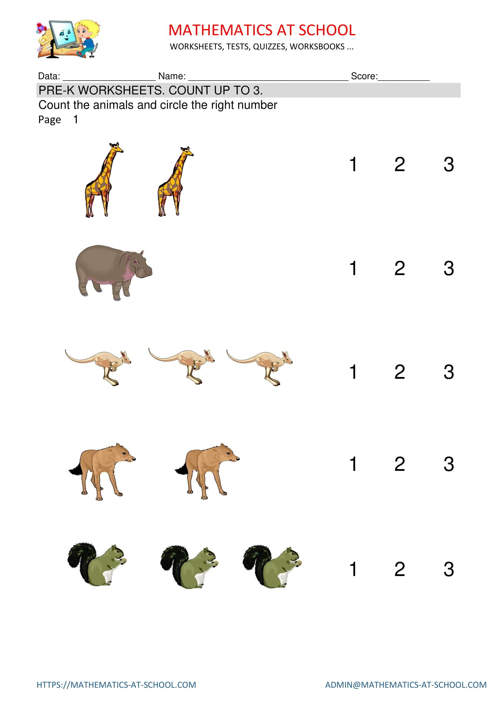 Prekindergarten math worksheets counting (count animals