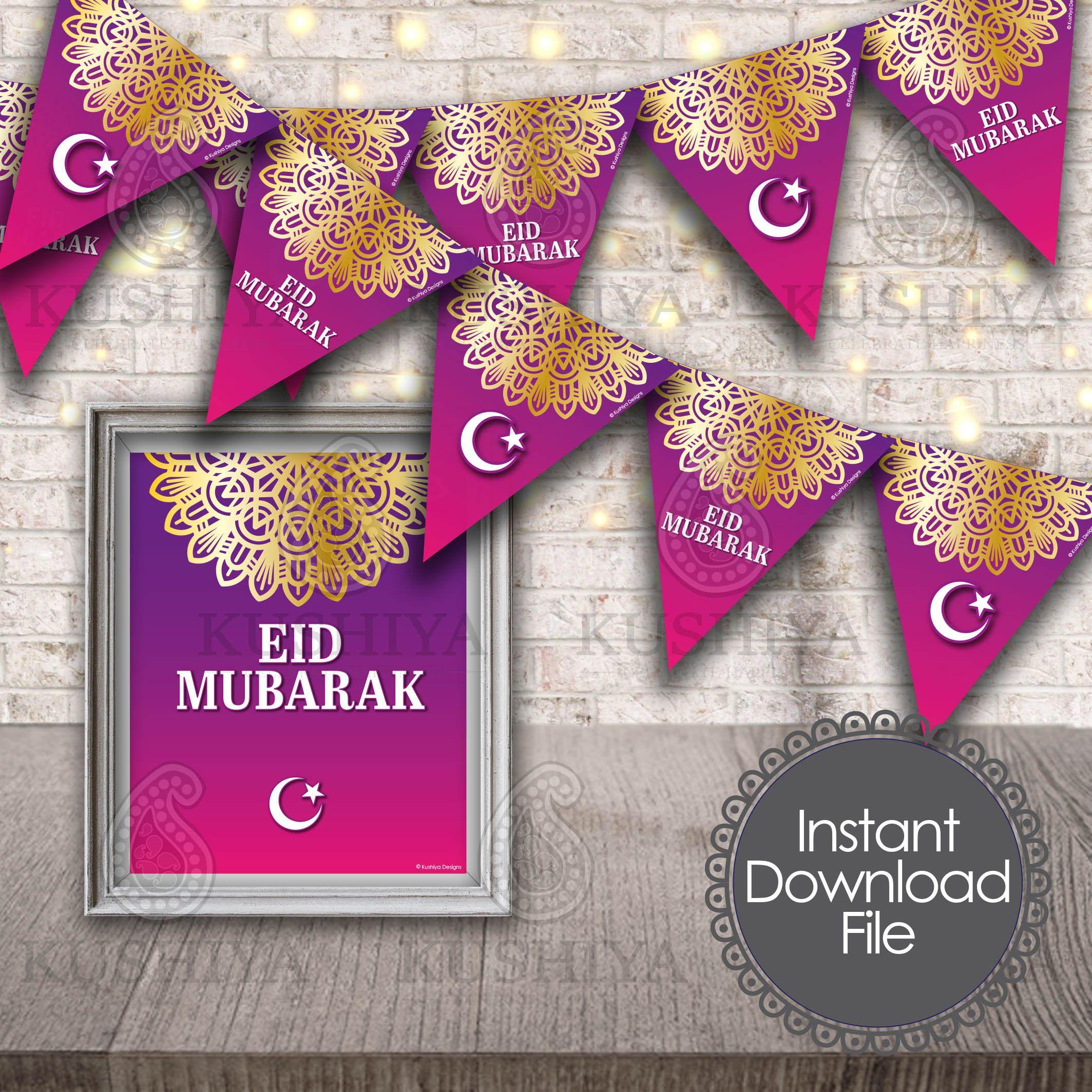 eid mubarak bunting flags  decorative print  eid