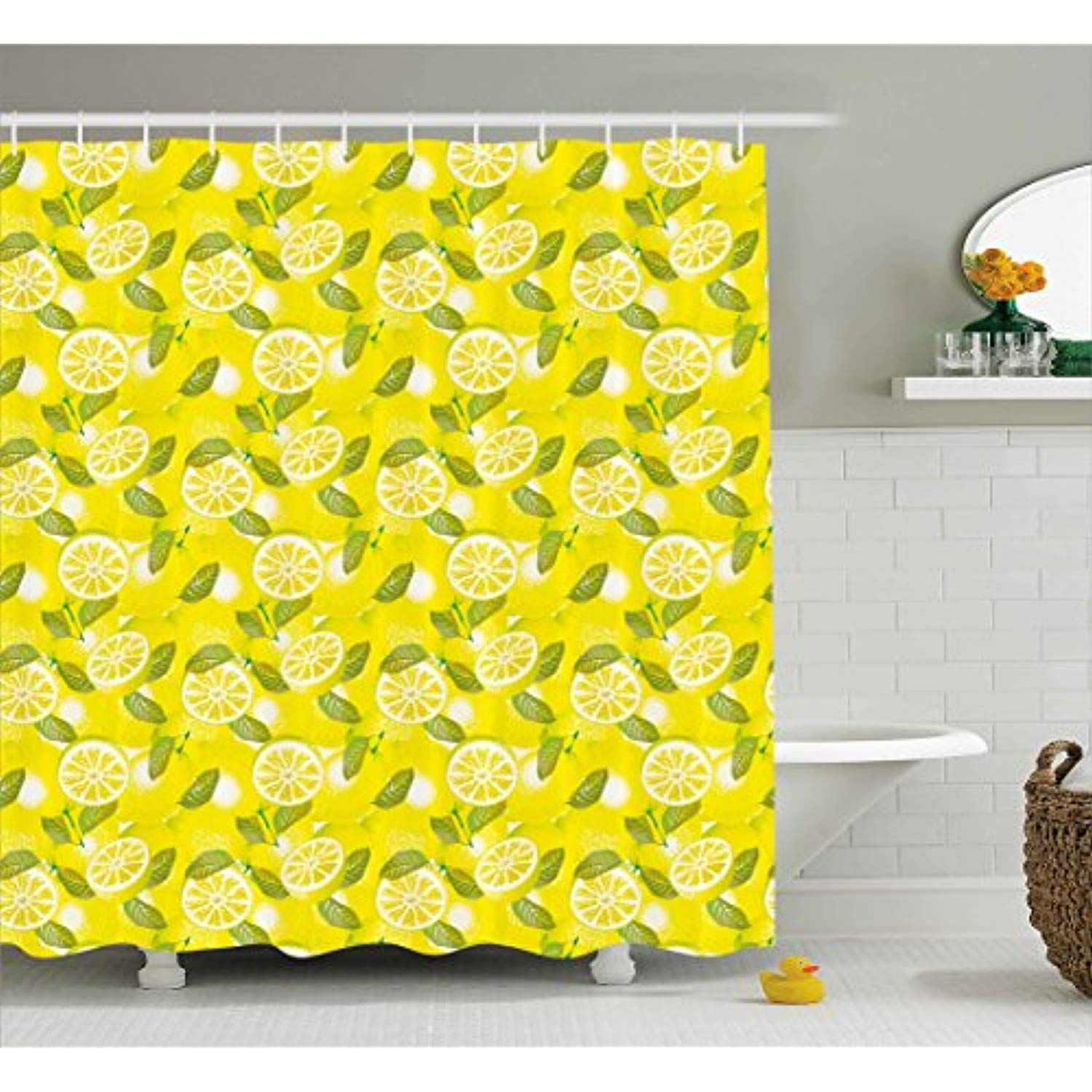 Ambesonne Spring Shower Curtain Fresh Lemon Slices With Leaves