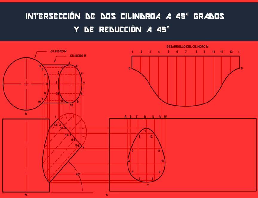 Desarrollo De Una Interseccion De Dos Cilindros A 45 Grados Caldereria Cilindro Geometria Descriptiva