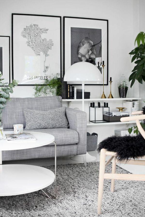 skandinavischer stil graues sofa grauer teppich weißer tisch, Wohnzimmer