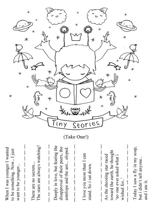 hitrecord:  Print. Copy. Post. :D Tiny Stories Flyer by wirrow