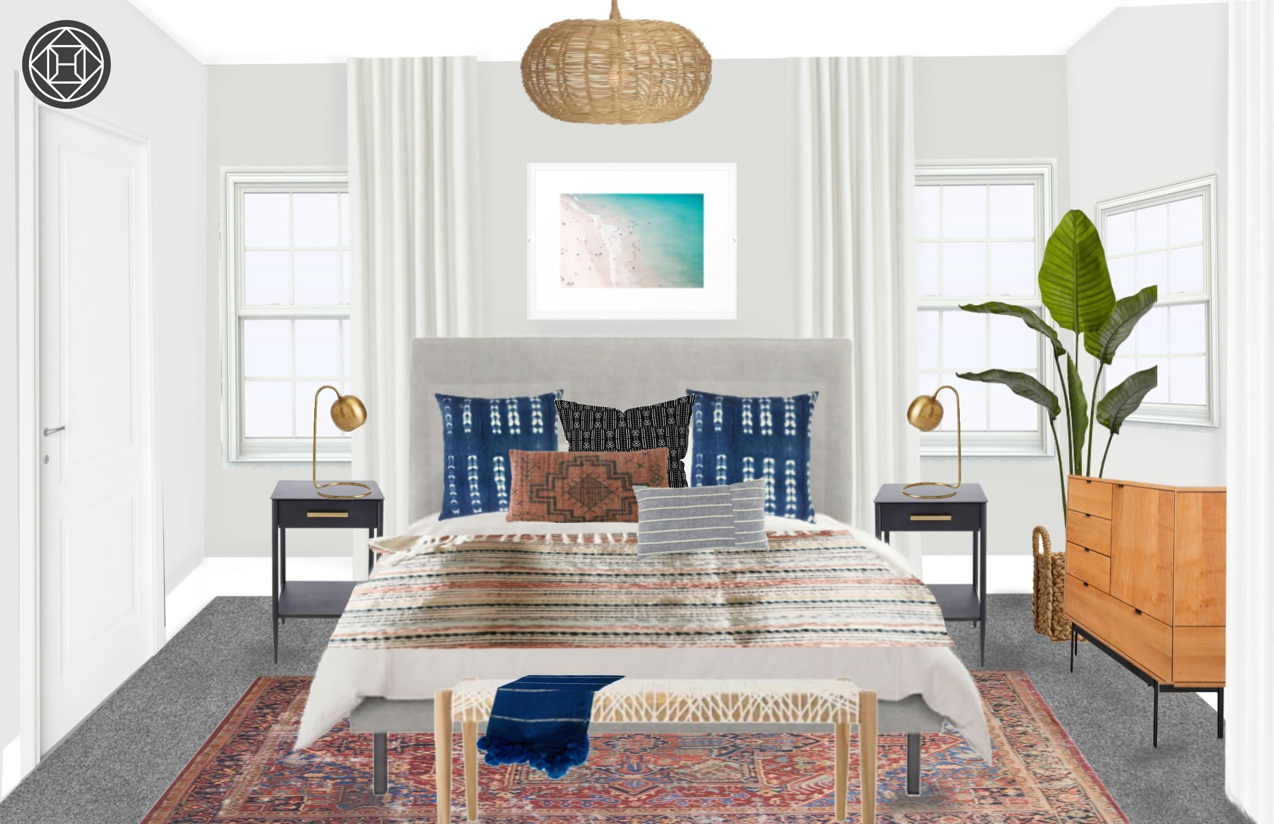 Eclectic, Bohemian, Coastal Bedroom Design by Havenly