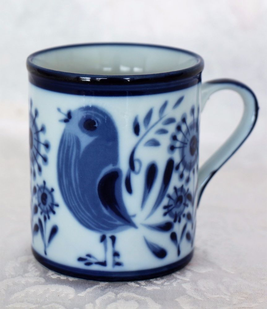 Vintage Nordic JAPAN Hand Painted Bird Flower Coffee Mug Cup