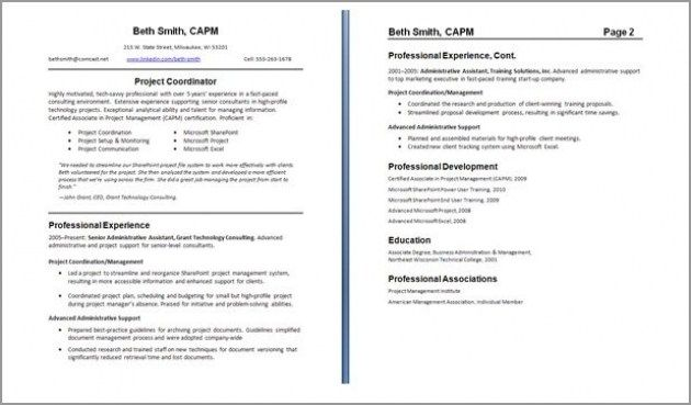 Resume Examples 2 Pages Resumeexamples