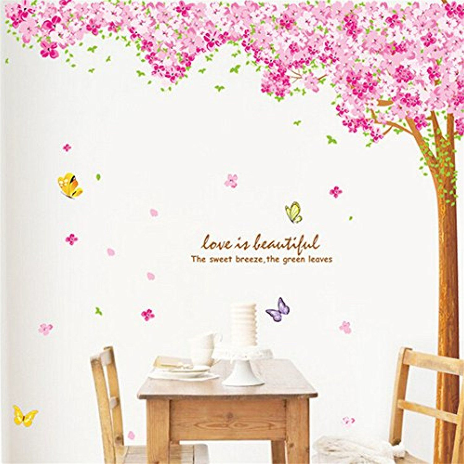Chendongdong Huge Cherry Blossom Flower Tree Wall Decal Sticker Mural Home Decor Wallpaper Check O Flower Wall Decals Nursery Wall Decals Tree Wall Stickers