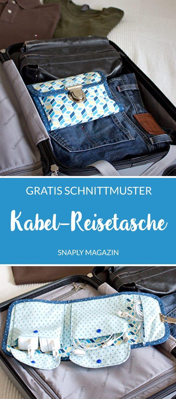 Patron et instructions de couture gratuits: coudre un sac de voyage à câble | Magazine Snaply   – Nähen