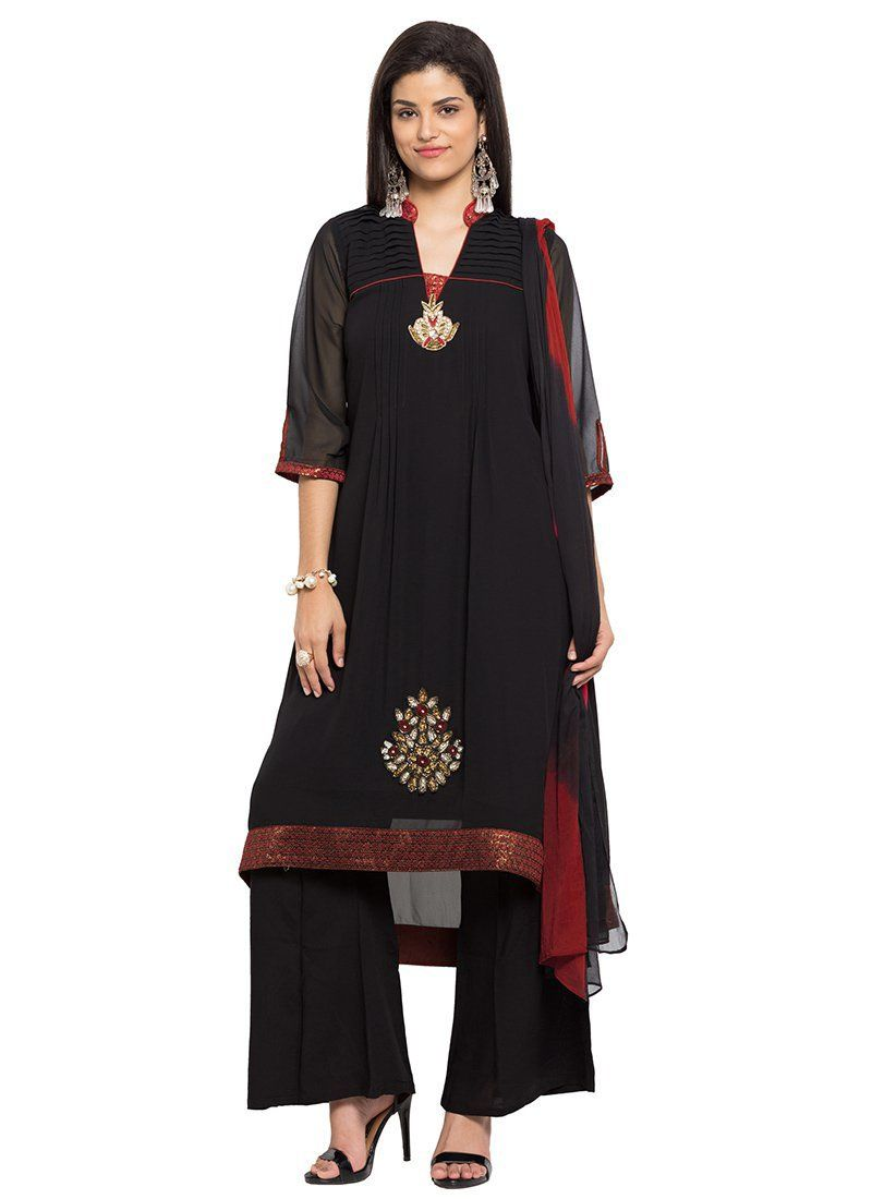 e31a72bec7 Buy Black Georgette Asymmetrical Palazzo Suit, Embroidered, palazzo ...