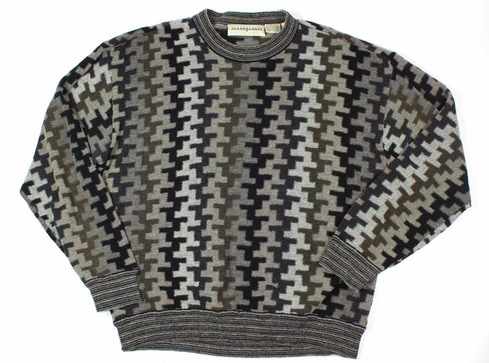 Vintage Jhane Barnes L Men's Crew Neck Sweater Multi Colored GeometricV #JhaneBarnes #Crewneck