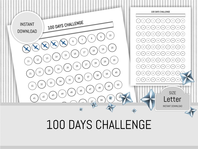 100 Days Challenge Agenda Habit Tracker Daily Challenge Printable