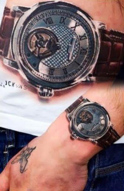 3d Tattoo Of Wrist Watch Pocket Watch Tattoos Watch Tattoos 3d