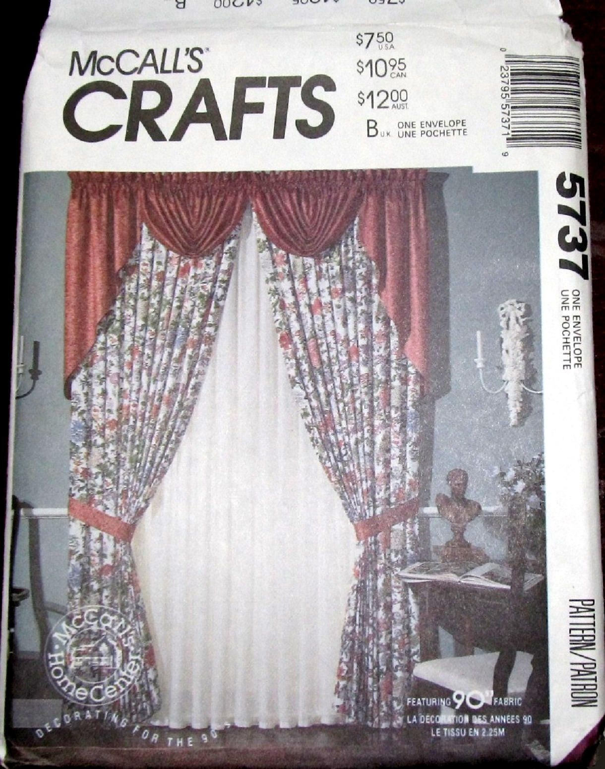 Vintage Sewing Pattern Mccalls Craft Home Center 9682 Window Treatments Swags Panels Cafe Curtains F Drapes Curtains Mccalls Sewing Patterns Beautiful Curtains