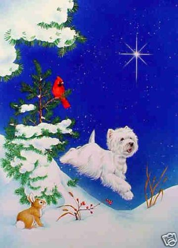 Pack of 10 Charity Christmas Cards Snowy Westie