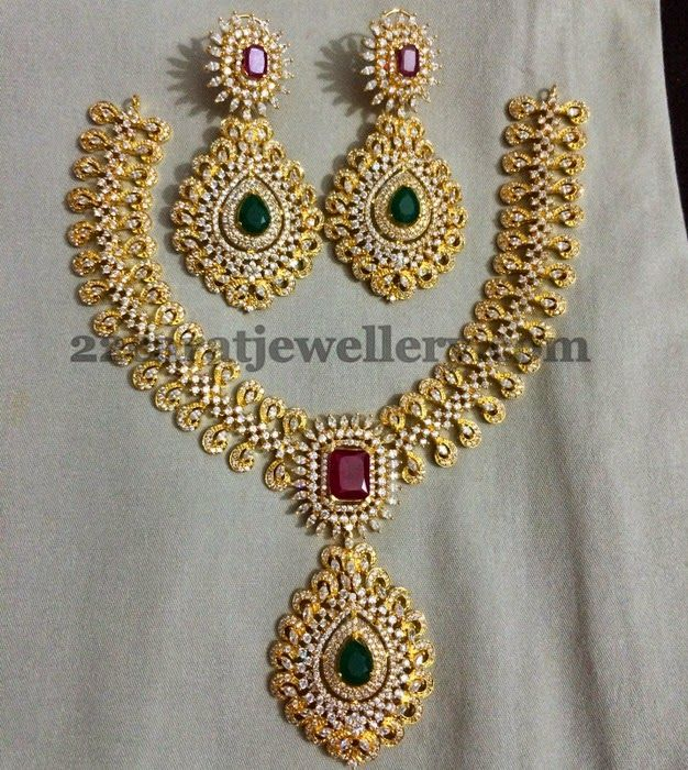 Jewellery Designs Meena Work Imitation Grand Necklace