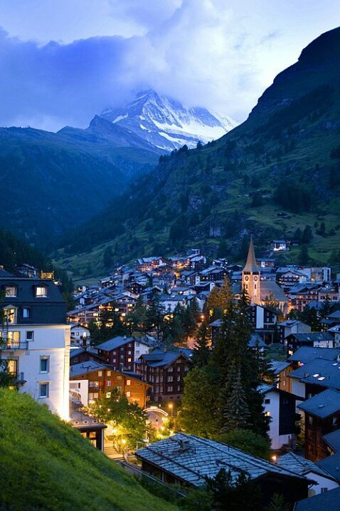 One day!! I want to be there now!! Dusk, Zermatt, Switzerland photo via mcx . @zermatt_tourism @myswitzerland_e .