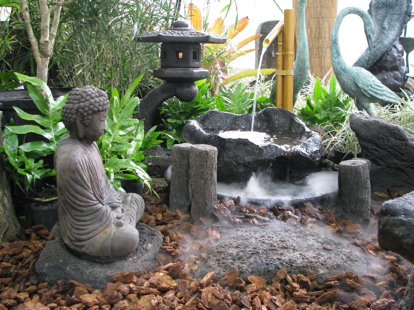 japanese garden design beautiful with bamboo water features with stone circular small ponds with buddha statue