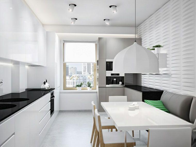 Cucine Piccole E Un Arredamento Moderno Con Top Lucido Nero E Tavolo Da Pranzo Rettangolare Bianco Arredamento Cucina Bianco Soggiorno Rettangolo Arredamento