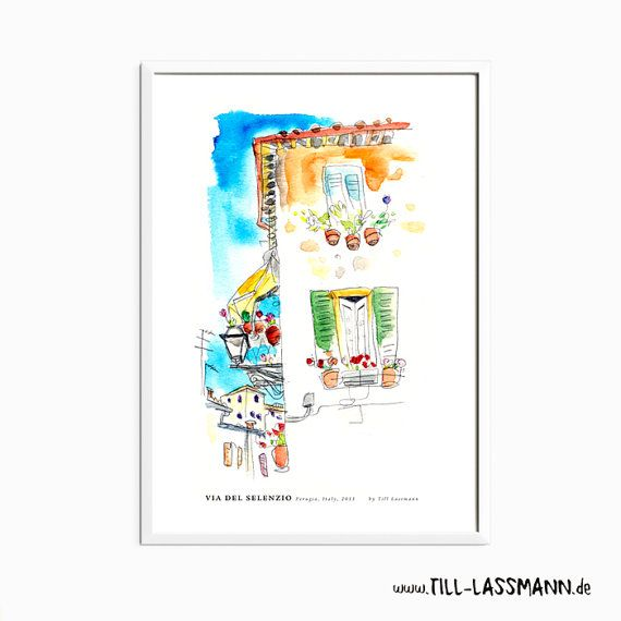 Perugia * Italy * Poster * Architectural Drawing * Mediterran * Fine Art to…