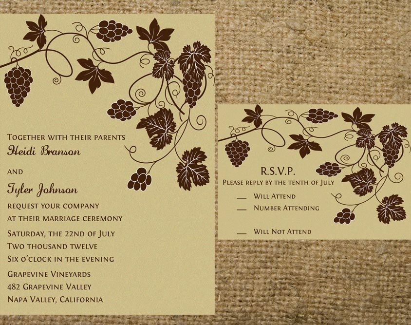 printable grapevine vineyard wedding invitation set - grapes, Wedding invitations