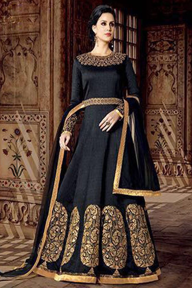 966176a10b Black Color Phantom Silk Fabric Gorgeous Embroidered Fancy Cut Back  Attractive Traditional Occasionally Party Wear Collection Gown Style  Anarkali Suit ...