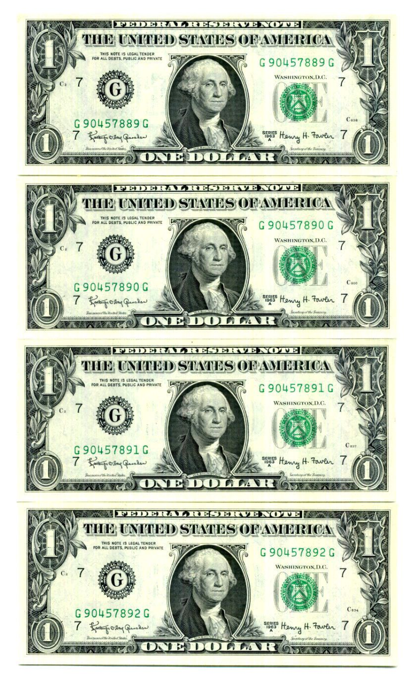 Coins Collectibles 4 1963a Ch Uncirculated Sequential Federal Reserve Notes Paper Money Us Lot 1424 Coin Play Money Template Money Template Money Printables