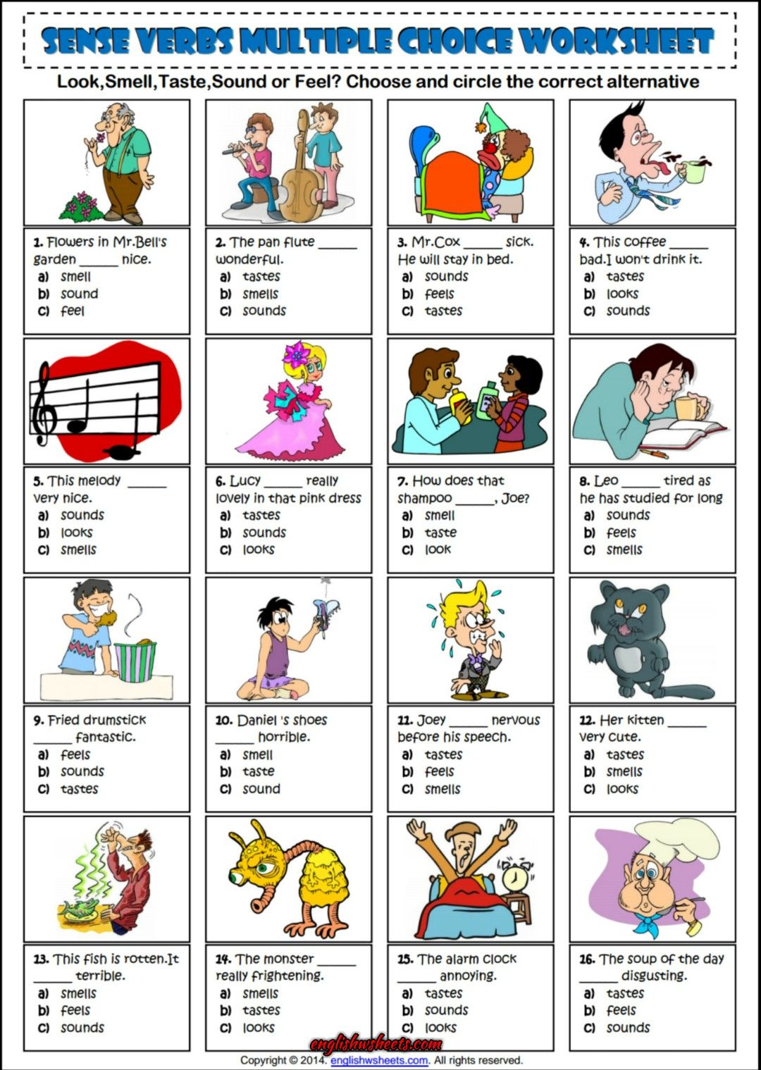 Sense Verbs Multiple Choice Esl Grammar Worksheet Esl Printable