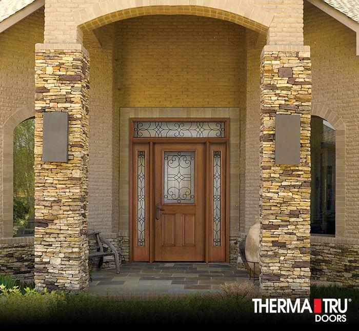 Therma Tru Fiber Classic Mahogany Collection Fiberglass Door With Salinas Wrought Iron