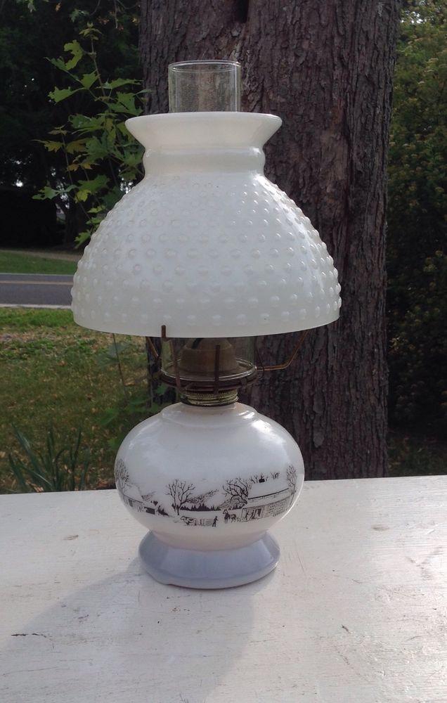 Vintage Currier Ives Oil Kerosene Lamp Milk Glass Hobnail Shade Kerosene Lamp Lamp Oil Lamps