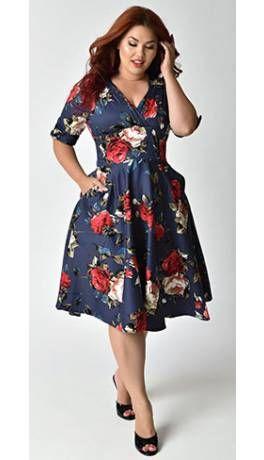 93ab524f44 Unique Vintage Plus Size 1950s Navy   Red Floral Delores Swing Dress ...