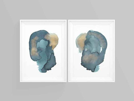 Paper Anniversary Gift Print Set Large Blue And Gold Abstract