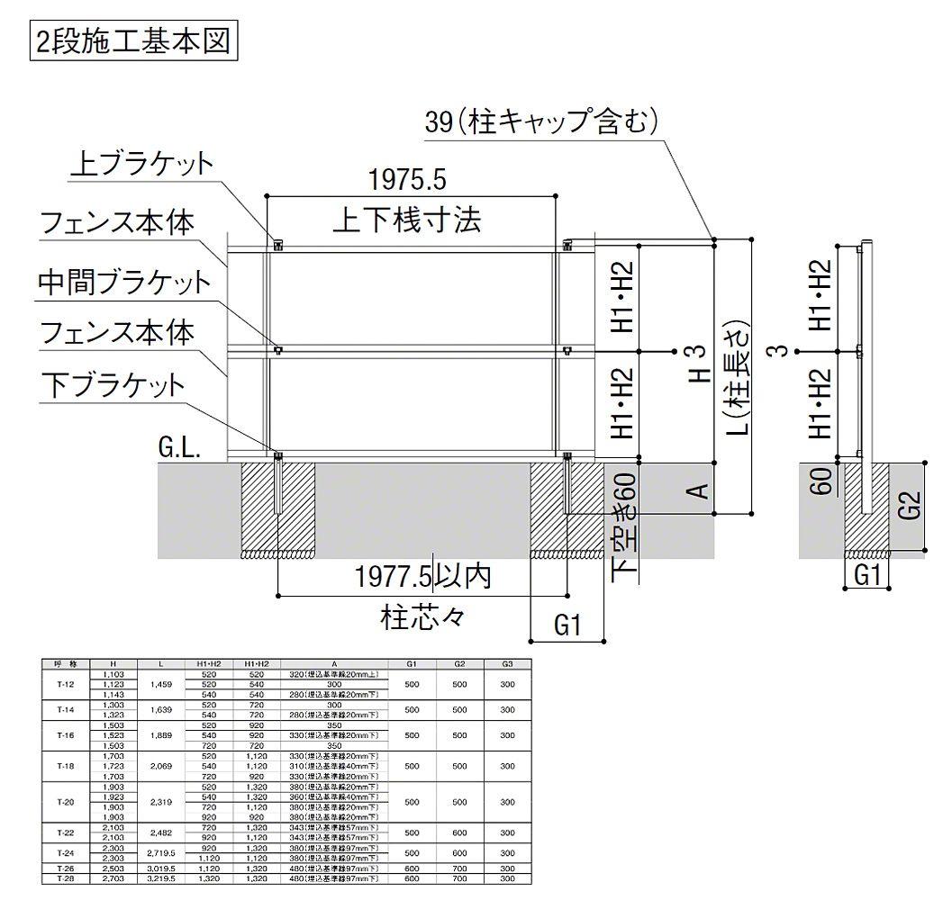 ライシスフェンス P型 ポリカーボネート アルミ多段柱使用 フェンス ポリカーボネート 柱