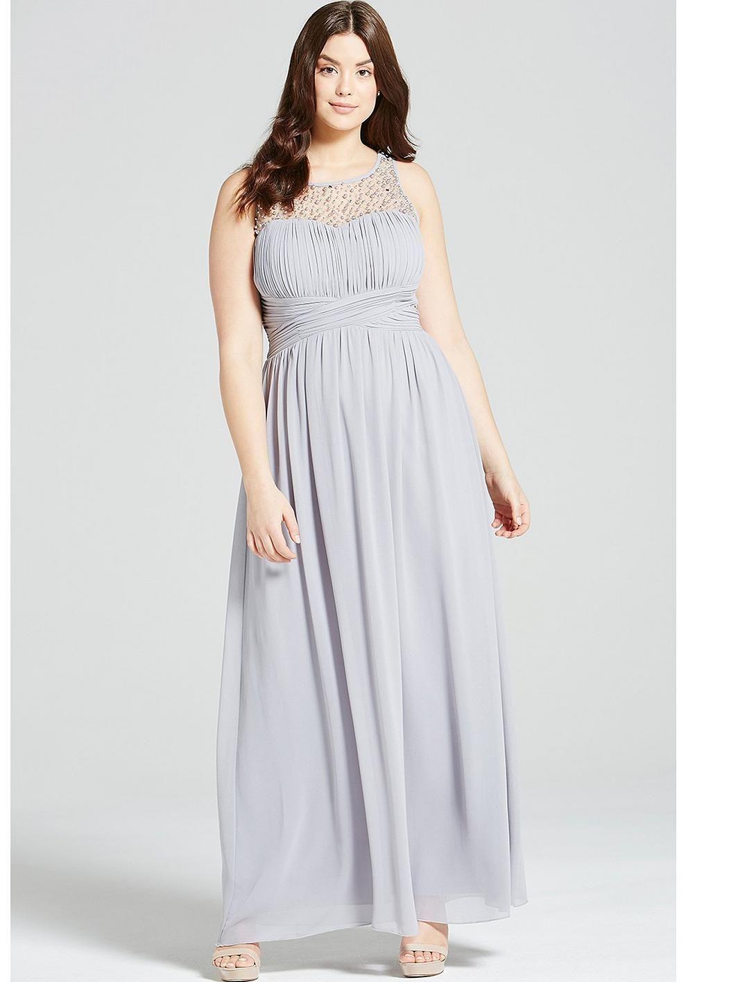 Littlewoods dresses for weddings  Little Mistress Curve Embellished Maxi Dress  Grey