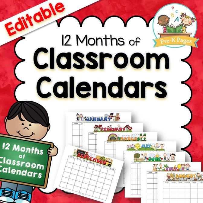 Classroom Calendars  Classroom Calendar PreSchool And Teacher