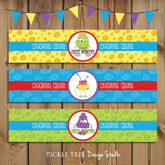 PRINTABLE Water Bottle Wrappers - It's a Monster Bash - PERSONALIZED (Style 13151)