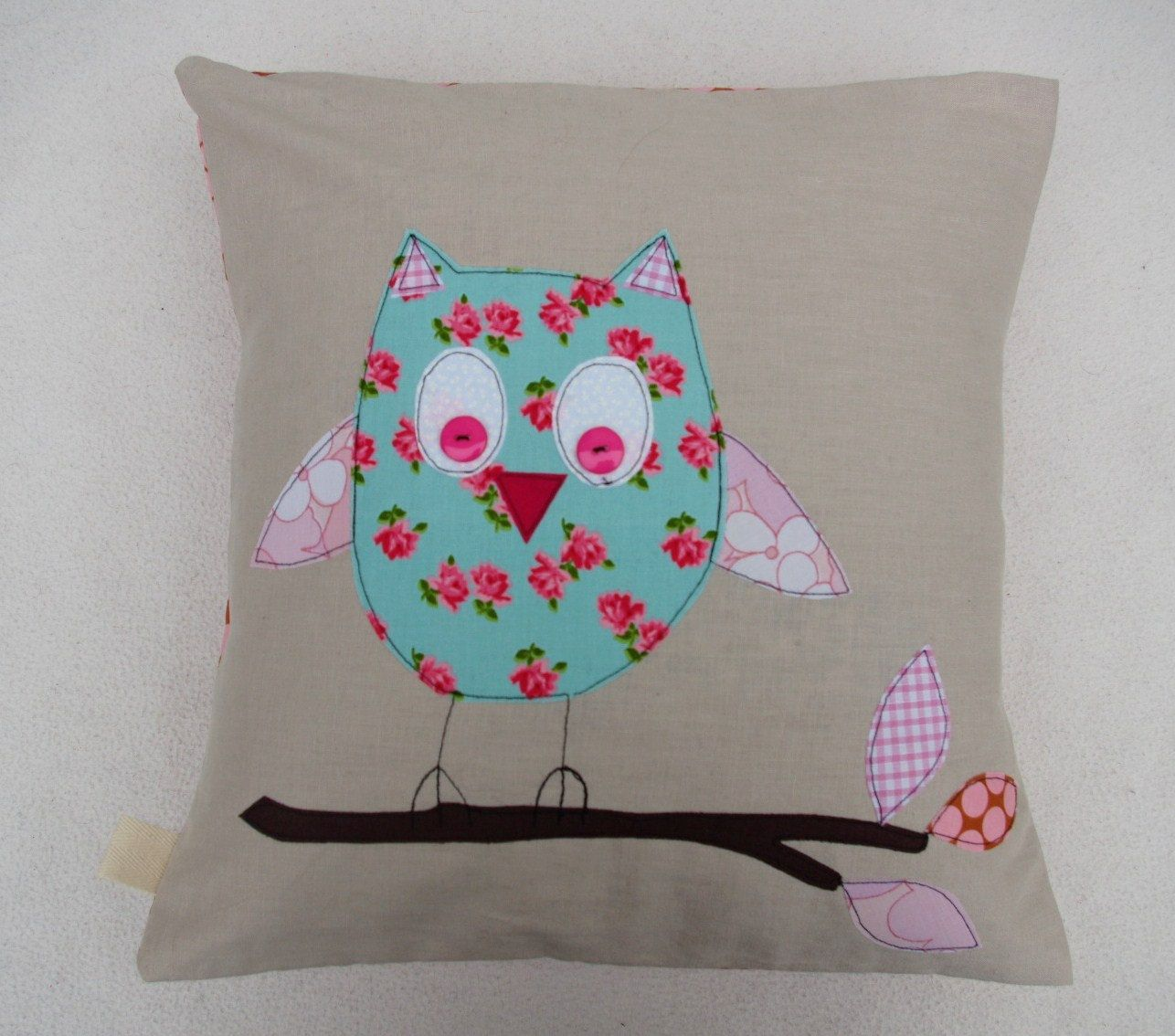 Owl cushion cover, pink woodland, free motion applique, Amy Butler ...