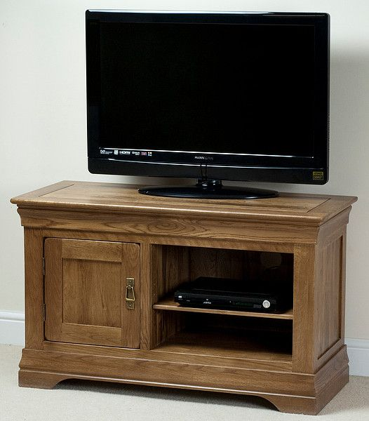French Farmhouse Rustic Solid Oak Small Tv Cabinet