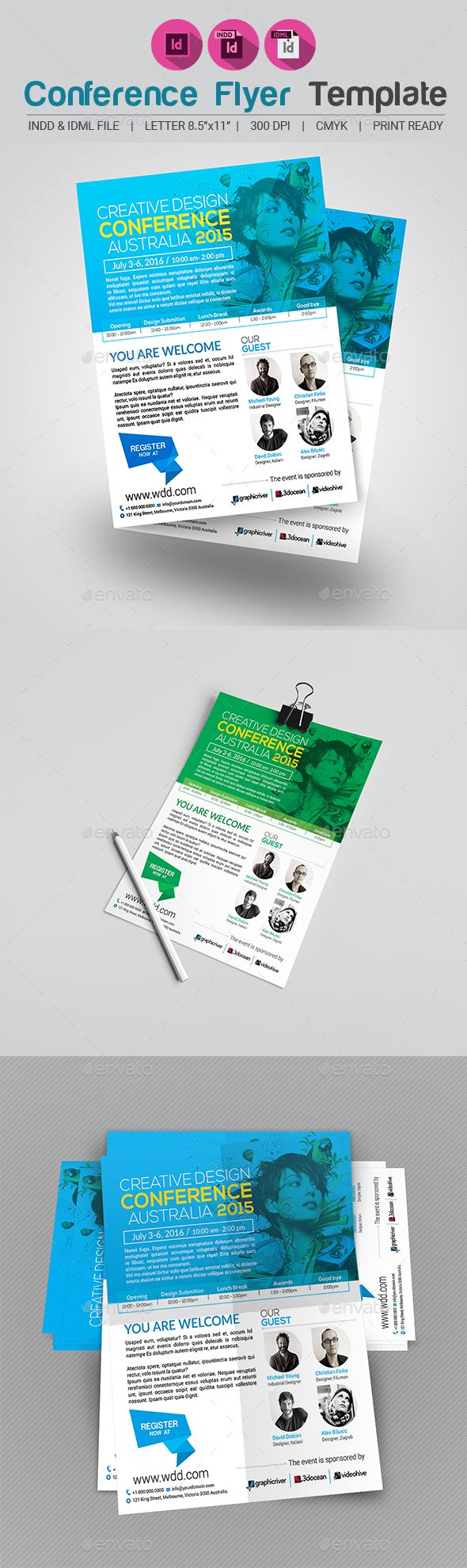 Conference Flyer V  Flyer Template Template And Adobe Indesign
