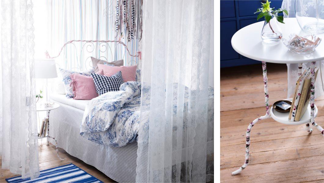 Ein Schlafzimmer mit LEIRVIK Bettgestell in Weiß, 3-teiligem EMMIE - schlafzimmer wei ikea