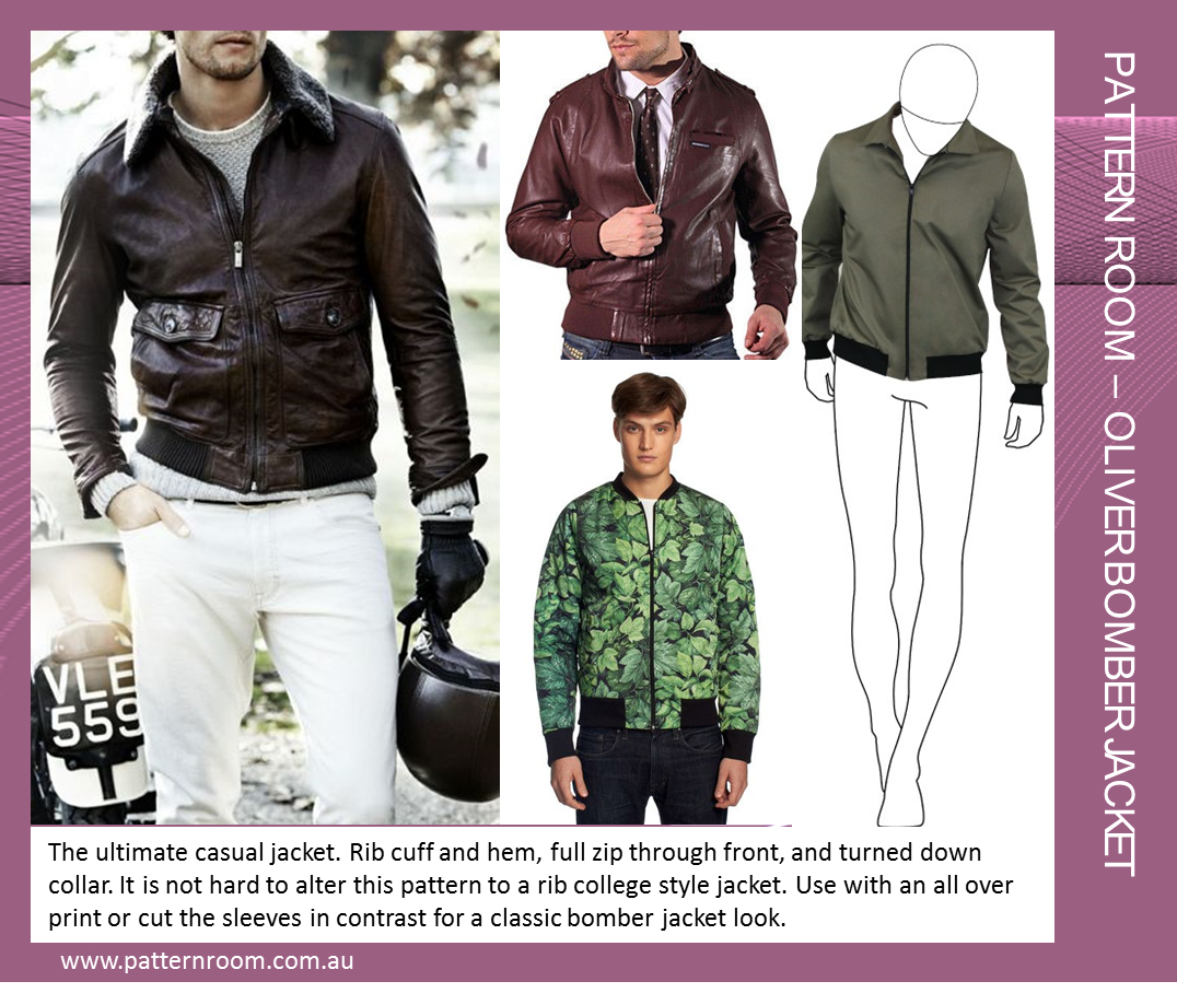 This popular style is seen has been building in the market for a while now. The ultimate casual jacket. Rib cuff and hem, full zip through front, and turned down collar. It is not hard to alter this pattern to a rib college style jacket. Use with an all over print or cut the sleeves in contrast for a classic bomber jacket look. www.patternroom.com.au #pattern #fashiondesign www.patternroom.com.au