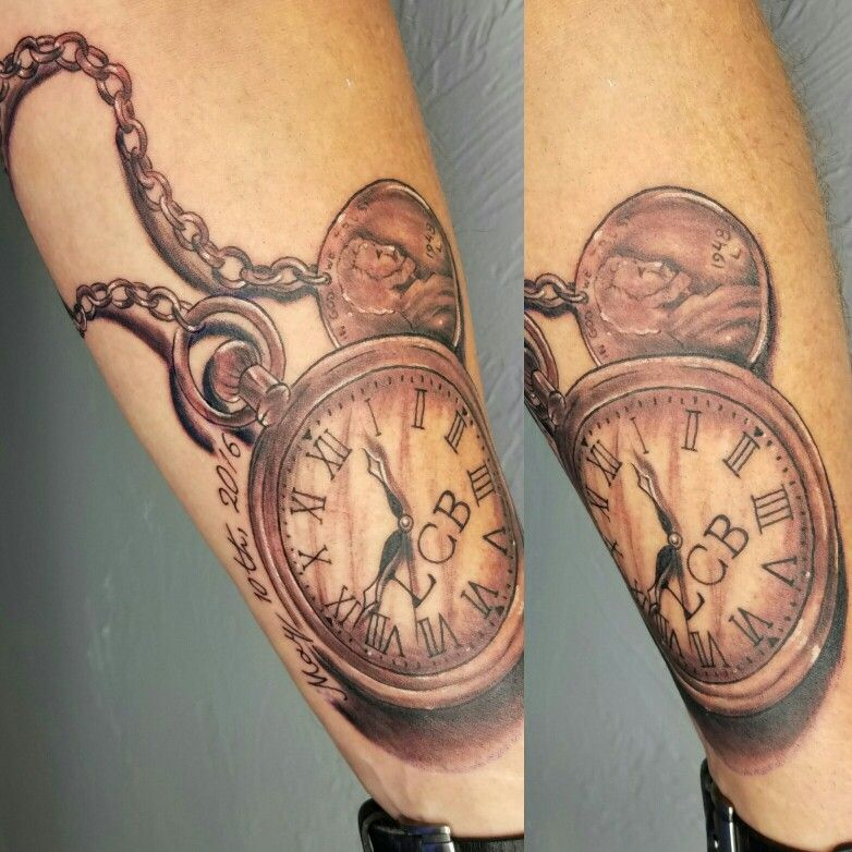In memory tattoo black and grey pocket watch tattoo by
