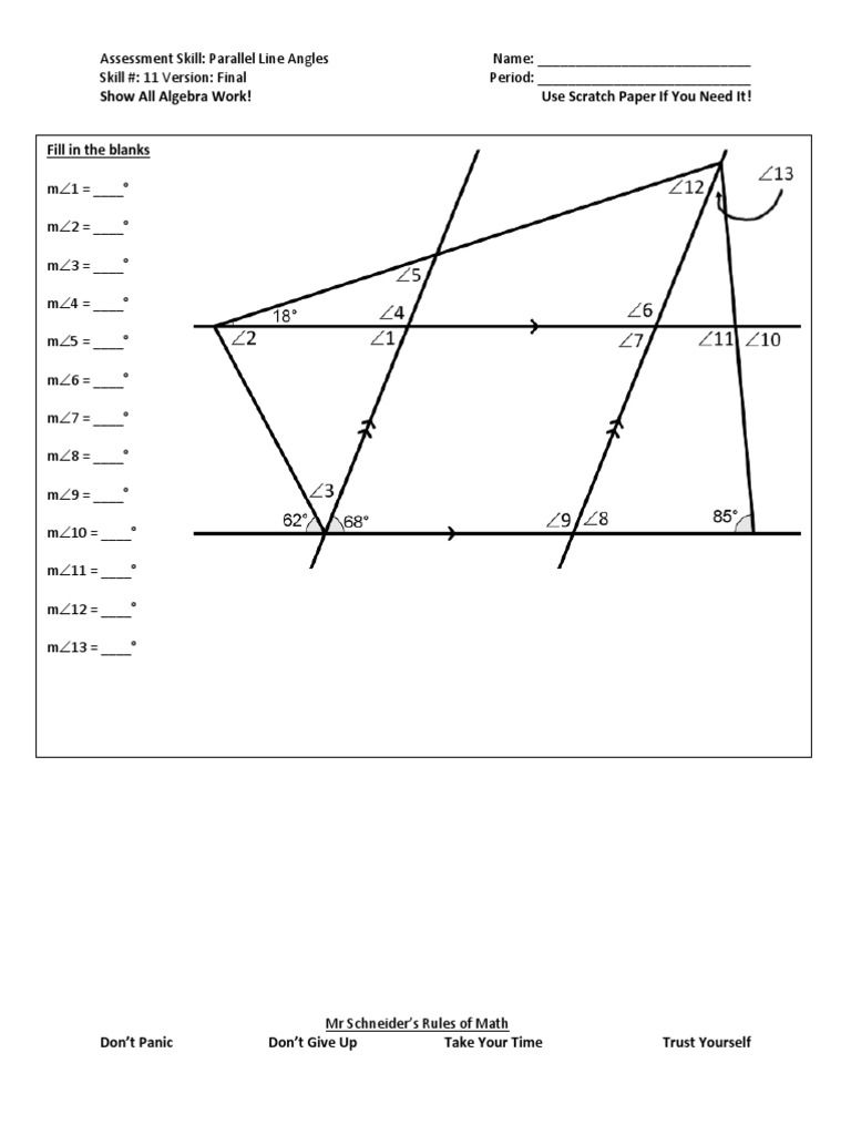 Parallel Line Angles Final Angles Worksheet Math Geometry Math Challenge