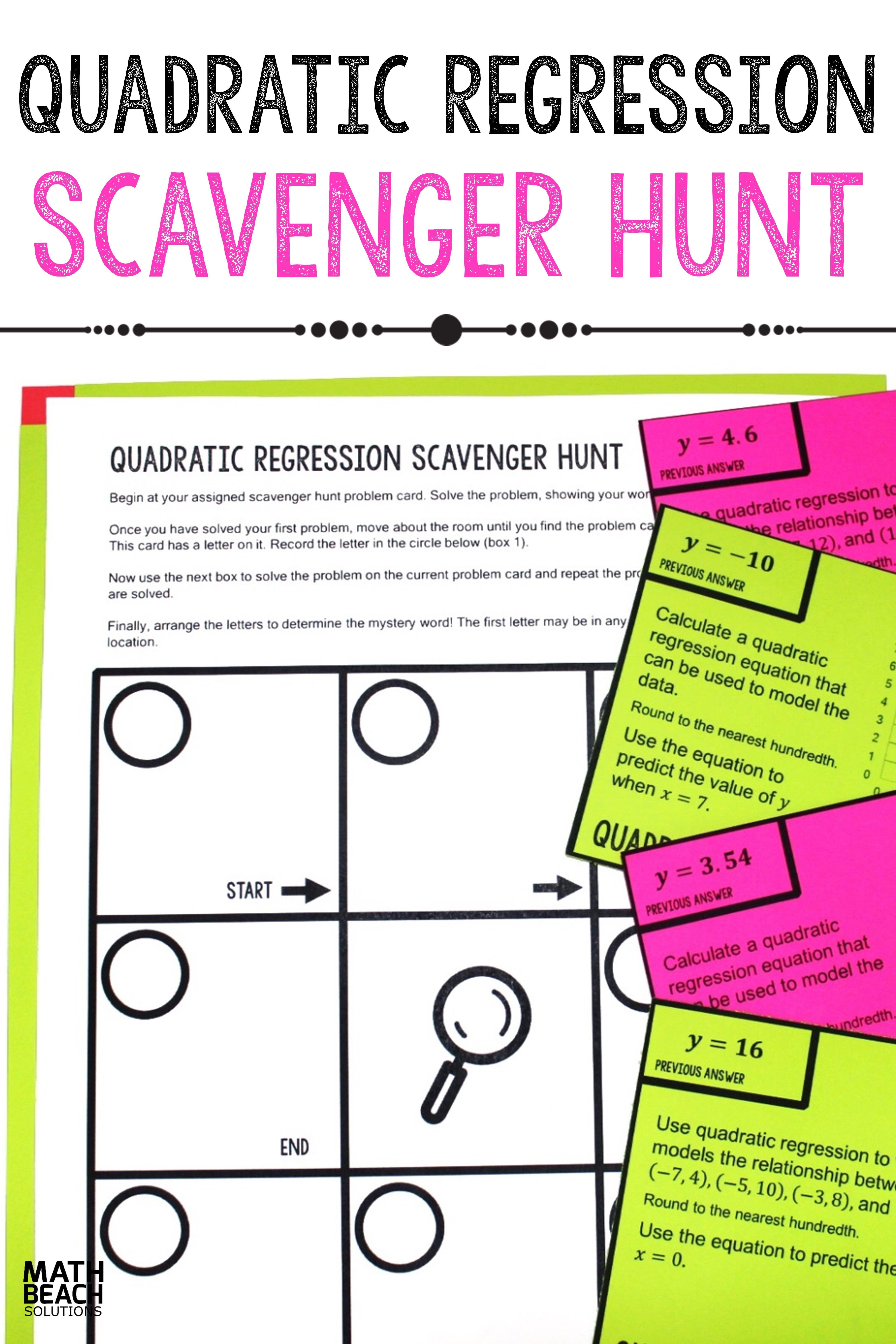 Quadratic Regression Scavenger Hunt Activity Quadratics Free Math Worksheets Algebra Worksheets [ 6528 x 4352 Pixel ]