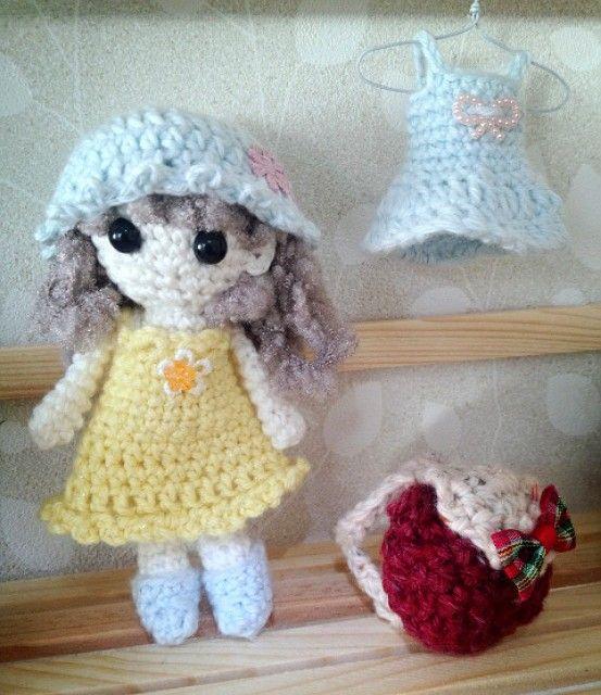 コットンで編んだお人形です。着せ替えもできて楽しいです。|ハンドメイド、手作り、手仕事品の通販・販売・購入ならCreema。