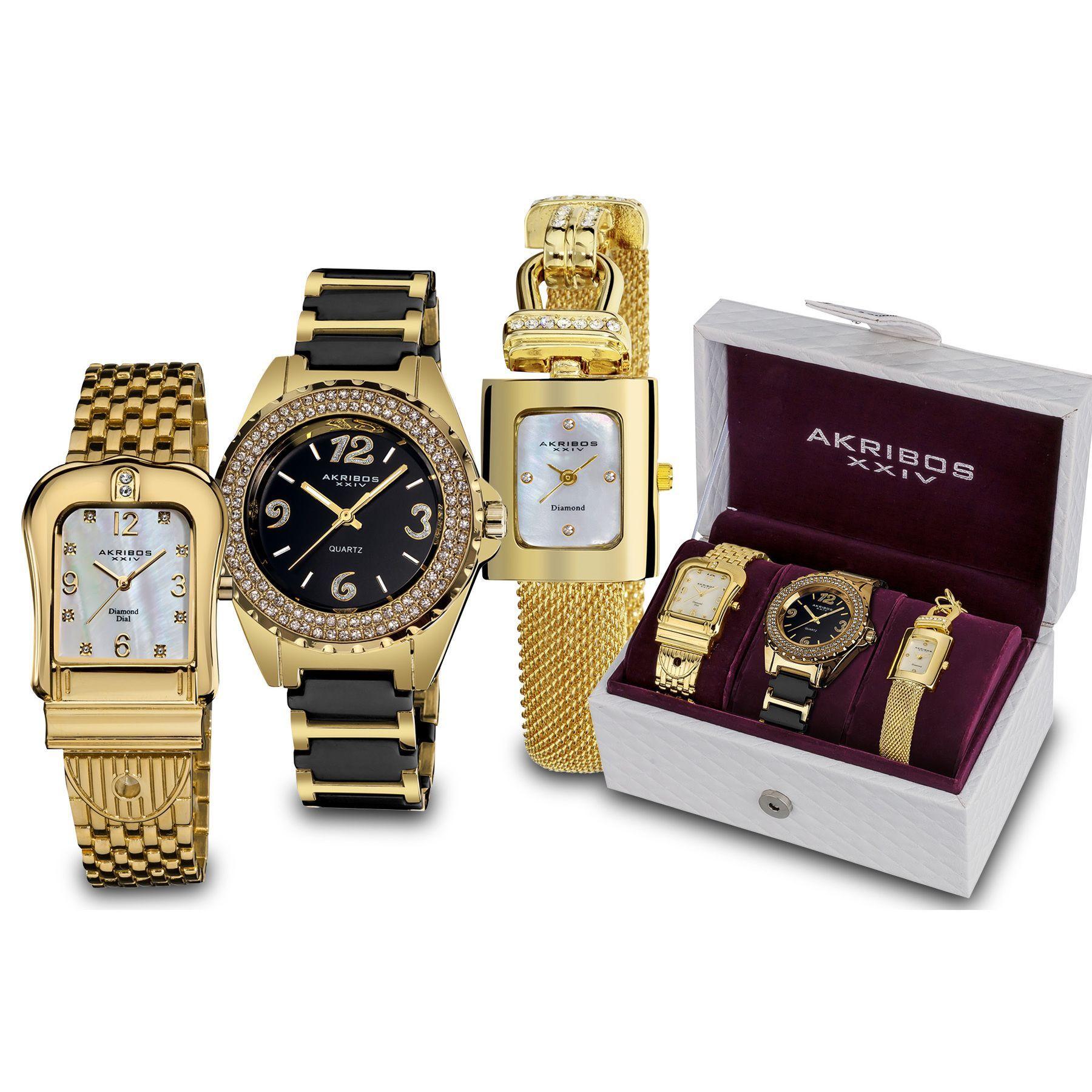 Akribos xxiv womenus japanese quartz diamond bracelet watch set