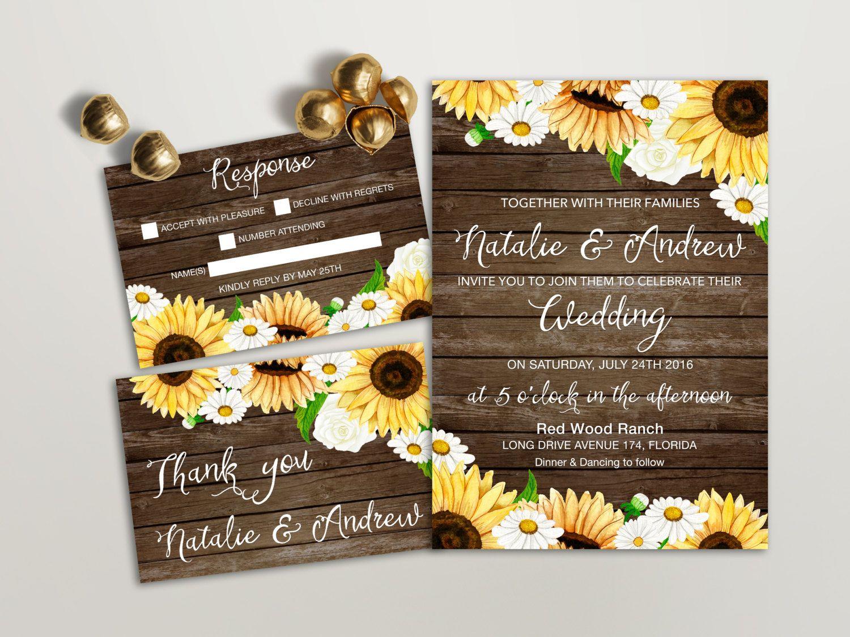 Rustic Wedding Invitation Printable, Sunflower Wedding