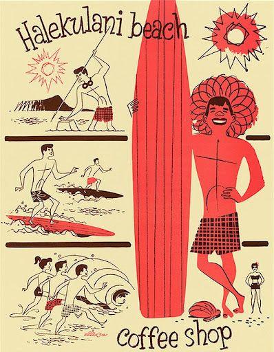 Hawaiian Coffee Shop illustration.