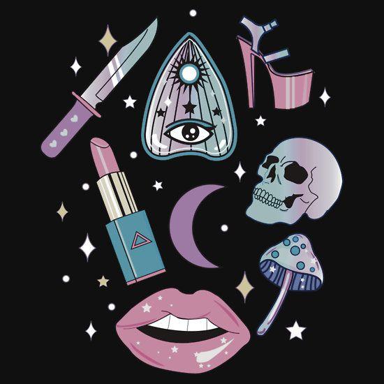 Girly Pastel Witch Goth Pattern T Shirt By Lunaelizabeth In 2020
